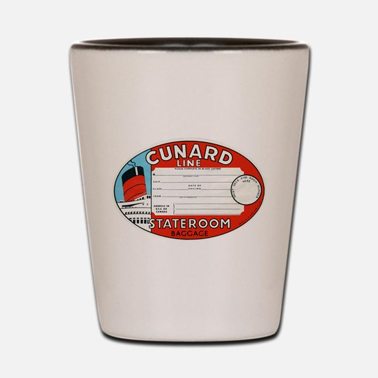Cunard luggage tag Shot Glass