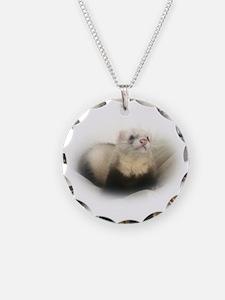 Unique Ferret Necklace Circle Charm