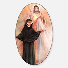 Saint Faustina and Divine Mercy Oval Decal