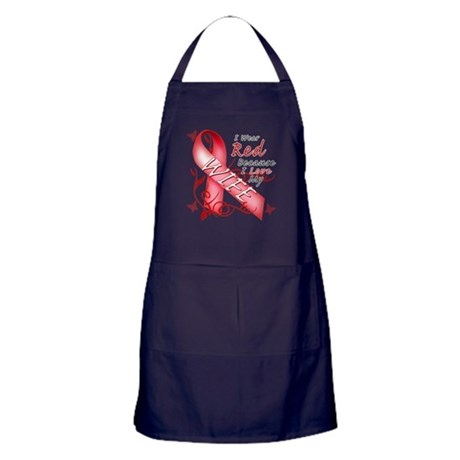 I Wear Red Because I Love My Wife Apron (dark)