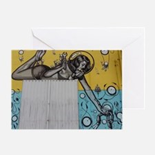 Funny Red head pinup girl Greeting Card