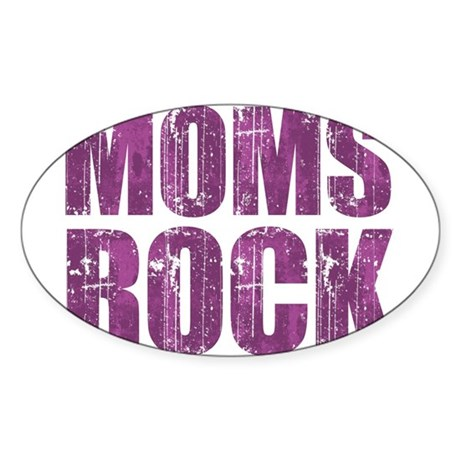 Moms ROCK Oval Sticker