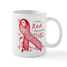 I Wear Red Because I Love My Husband Mug