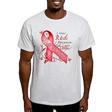 I Wear Red Because I Love My Great Grandma T-Shirt