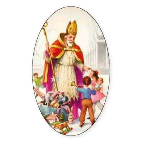 Saint Nicholas Oval Sticker