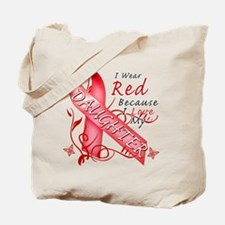 I Wear Red Because I Love My Daughter Tote Bag