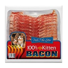 """Kitten Bacon"" designer kitchen Tile Coaster"