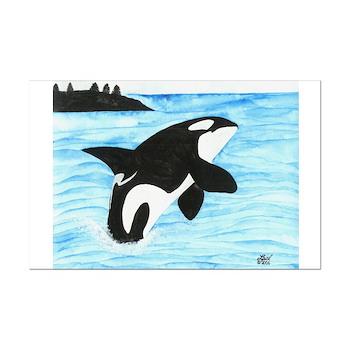 Breaching Orca Mini Poster Print