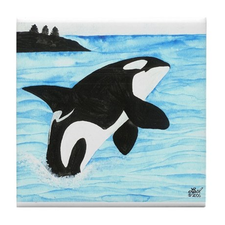 Breaching Orca Tile Coaster