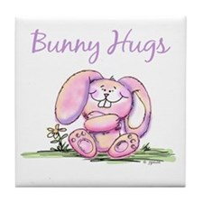 Bunny Hugs Tile Coaster