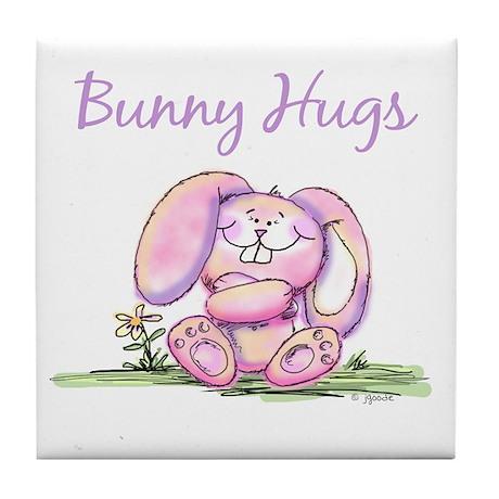 Bunny Hugs Tile Coaster