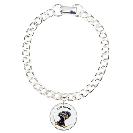 Black Tan Dachshund Lover Charm Bracelet, One Char