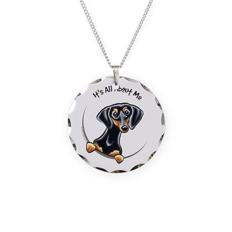 Black Tan Dachshund Lover Necklace Circle Charm