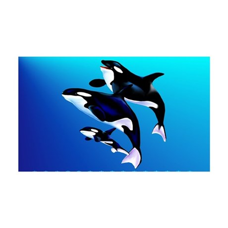 Orca Family 38.5 x 24.5 Wall Peel