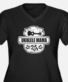 Ukulele Mama Women's Plus Size V-Neck Dark T-Shirt