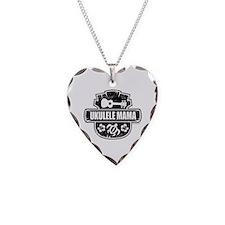 Ukulele Mama Necklace Heart Charm