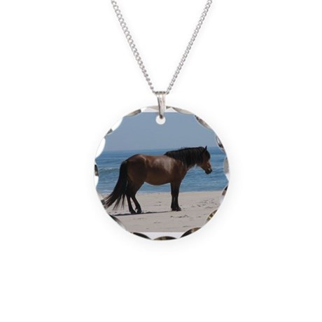 Wild Pony on Beach Necklace Circle Charm