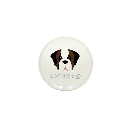 Saint Bernard Cartoon Face Mini Button