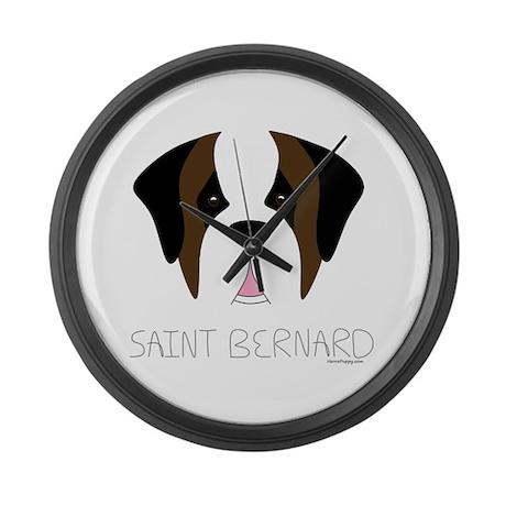 Saint Bernard Cartoon Face Large Wall Clock