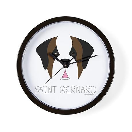 Saint Bernard Cartoon Face Wall Clock