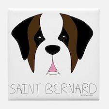 Saint Bernard Cartoon Face Tile Coaster