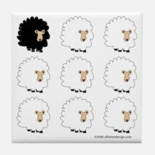 One of These Sheep (White bk)! Tile Coaster