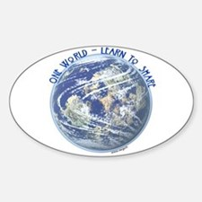 One World - Learn to Share Oval Decal