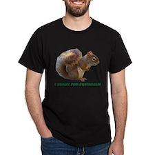 """""""I Brake for Squirrels"""" Black T-Shirt"""
