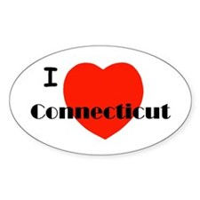 I Love Connecticut! Oval Decal