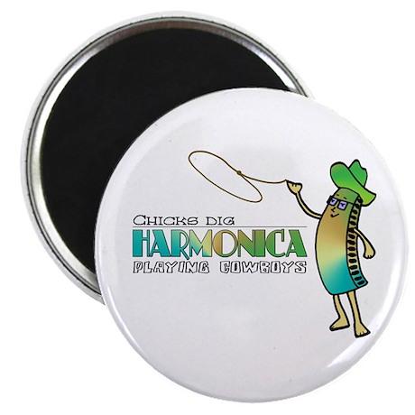 "Harmonica Cowboy 2.25"" Magnet (100 pack)"