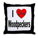 I Love Woodpeckers Throw Pillow