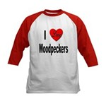 I Love Woodpeckers (Front) Kids Baseball Jersey