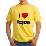 I Love Woodpeckers (Front) Yellow T-Shirt