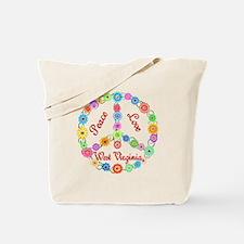 Peace Love West Virginia Tote Bag