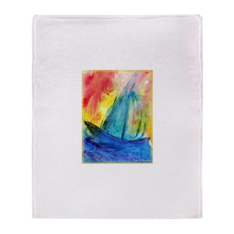 Sailboat, colorful, Throw Blanket
