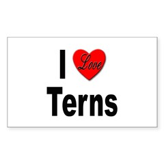 I Love Terns Rectangle Decal