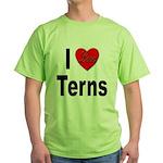 I Love Terns (Front) Green T-Shirt