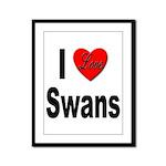I Love Swans Framed Panel Print