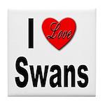 I Love Swans Tile Coaster