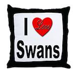 I Love Swans Throw Pillow