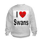 I Love Swans (Front) Kids Sweatshirt