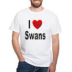 I Love Swans (Front) White T-Shirt