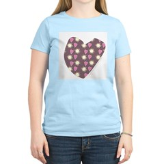 Brown Love Fireworks Women's Pink T-Shirt
