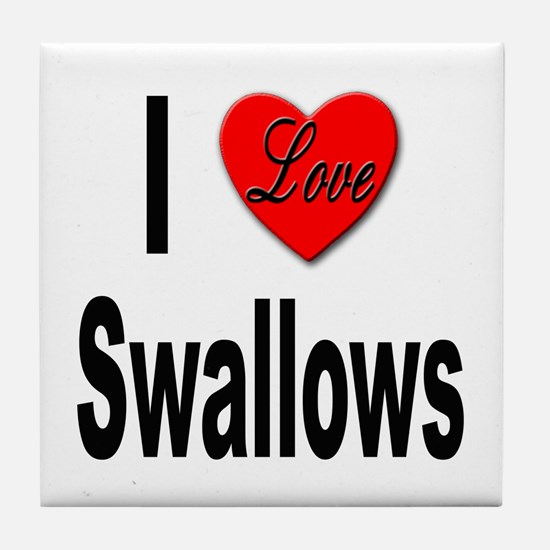 I Love Swallows Tile Coaster