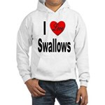 I Love Swallows (Front) Hooded Sweatshirt