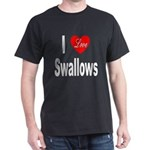I Love Swallows (Front) Black T-Shirt