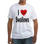 I Love Swallows (Front) Fitted T-Shirt