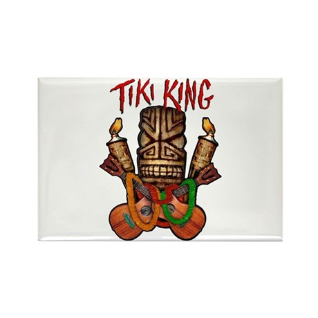 The Tiki King crossed Ukes Logo Rectangle Magnet