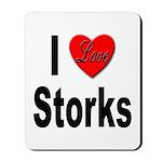 I Love Storks Mousepad
