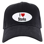 I Love Storks Black Cap